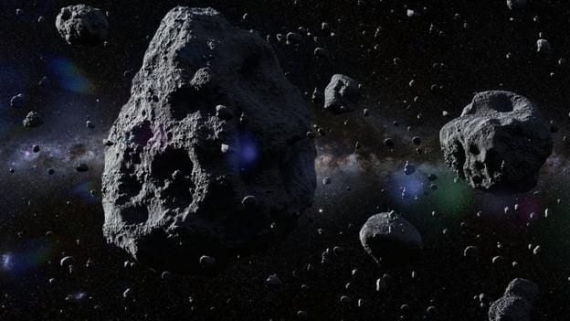 Imagen de un asteroide en el espacio