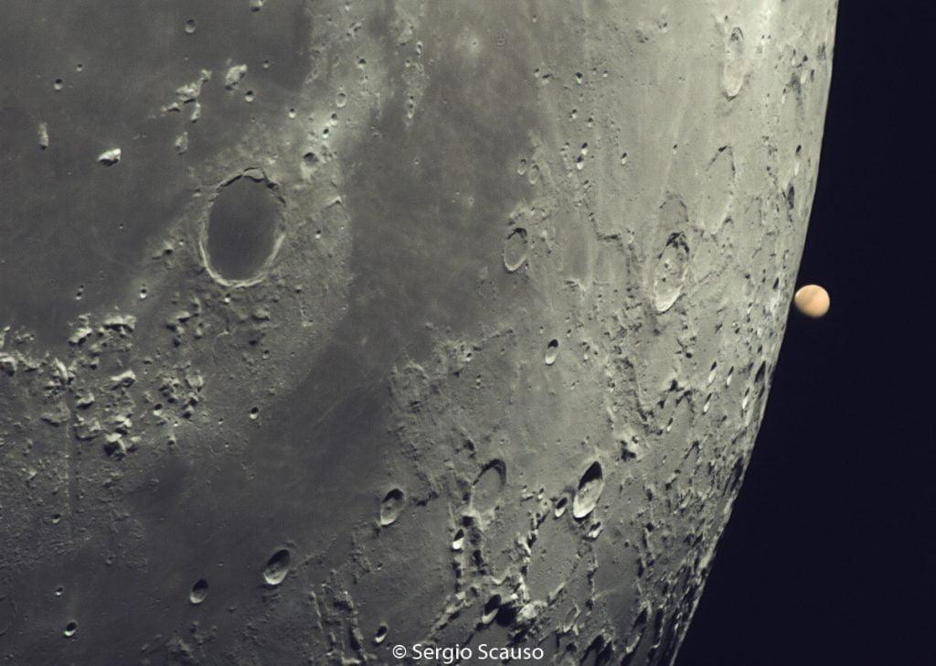 Marte en el borde de la Luna, desde Argentina
